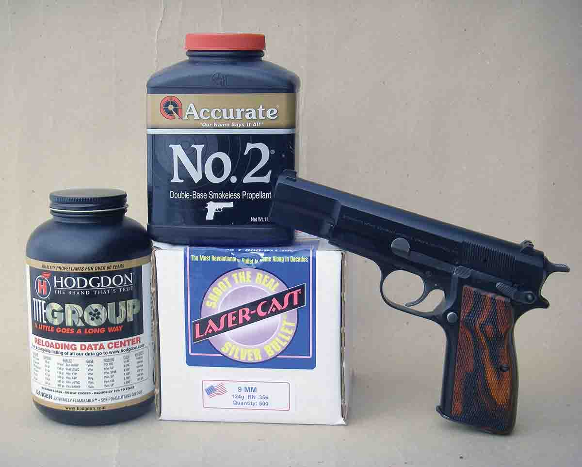 Hodgdon Titegroup and Accurate No. 2 powders are top choices for light target cast bullet loads in a Browning Hi-Power 9mm.