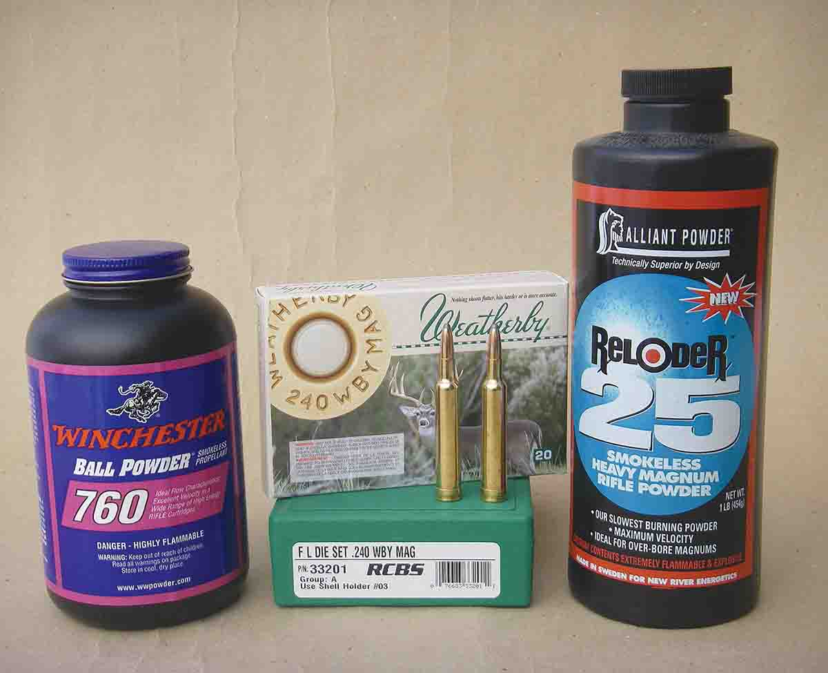 Winchester 760 and Alliant Reloder 25 powders are good choices when handloading the .240 Weatherby Magnum with 100-grain bullets.