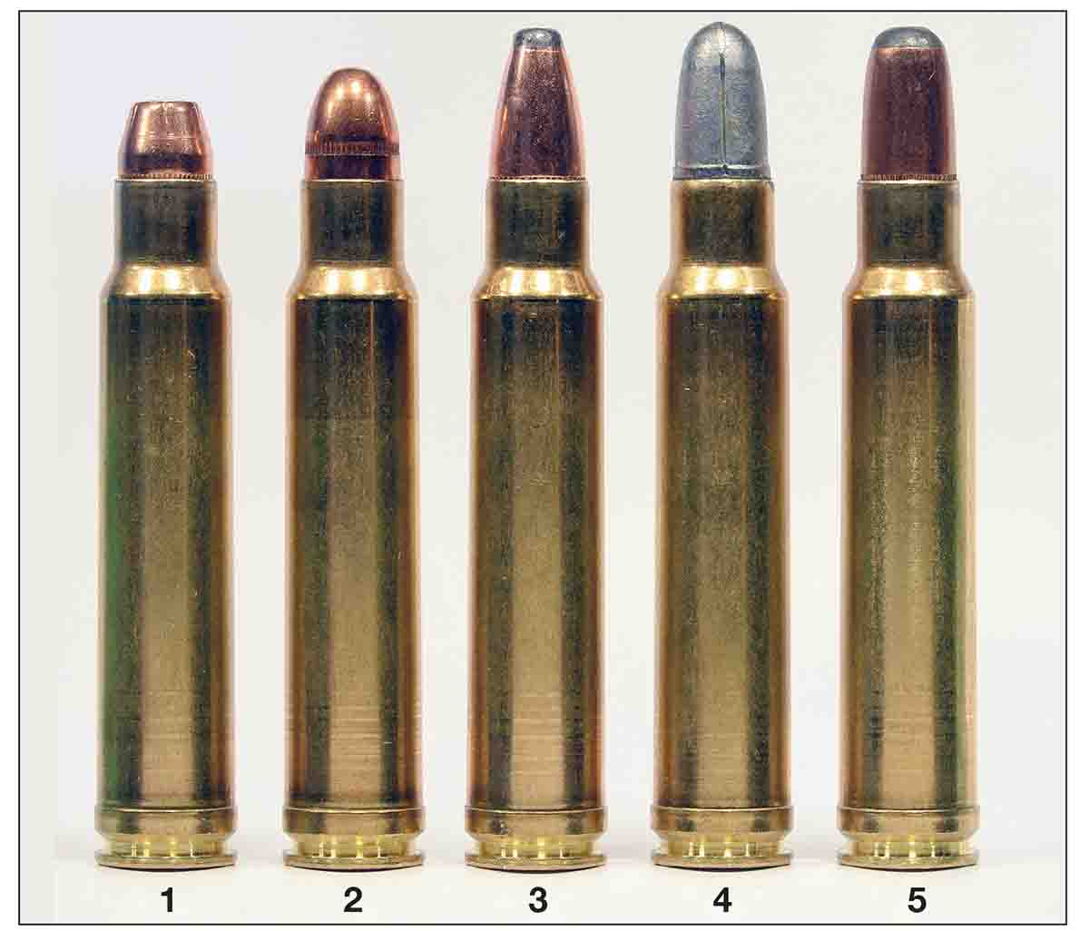 A cross-section of loads for the .358 Norma Magnum include the (1) Sierra 125-grain JHP, (2) Sierra 170 FMJ, (3) Speer 180, (4) 200-grain cast bullet and a (5) Sierra 200 roundnose.
