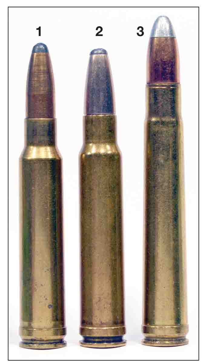 Three rivals: (1) .338 Winchester Magnum, (2) .358 Norma Magnum and (3) .375 H&H. Of the three, only the .358 Norma has not become a standard chambering.