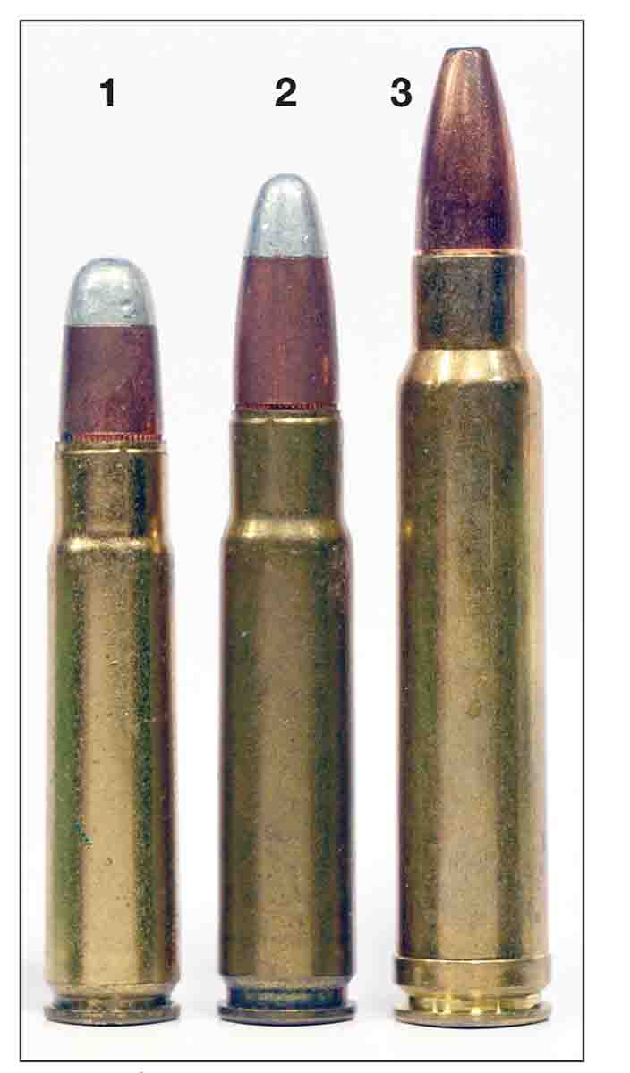 From left: (1) .35 Remington, (2) .358 Winchester and (3) .358 Norma Magnum. The .358 Norma can be loaded down to duplicate the performance of either of the two smaller cartridges.