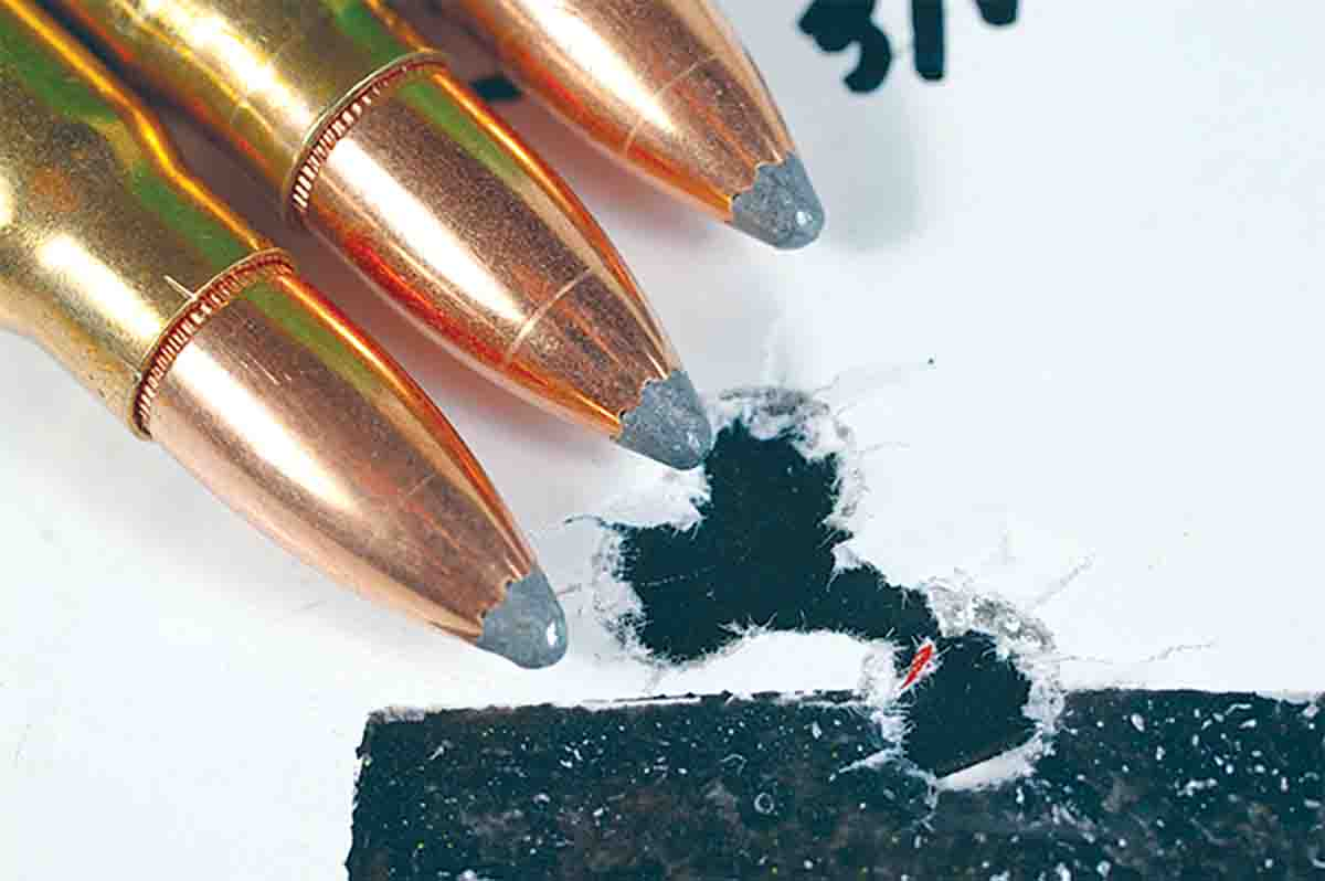 Hornady 123-grain Spire Point bullets loaded over LT-32 and fired from a CZ 527 7.62 x39 formed this 100-yard group.