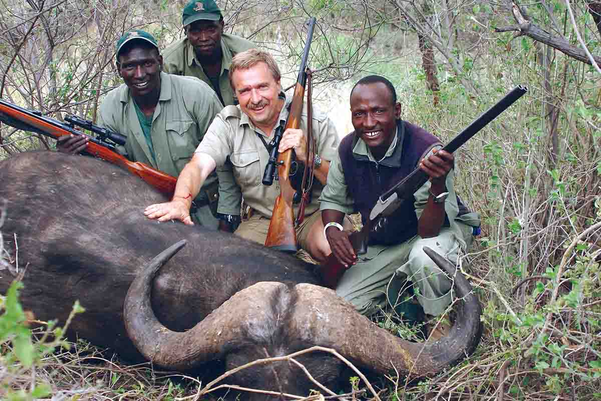 Terry with a Cape buffalo in Tanzania in 2006. The .450 Ackley and 500-grain Swift A-Frame bullets accounted for two bulls in the space of a couple of minutes.