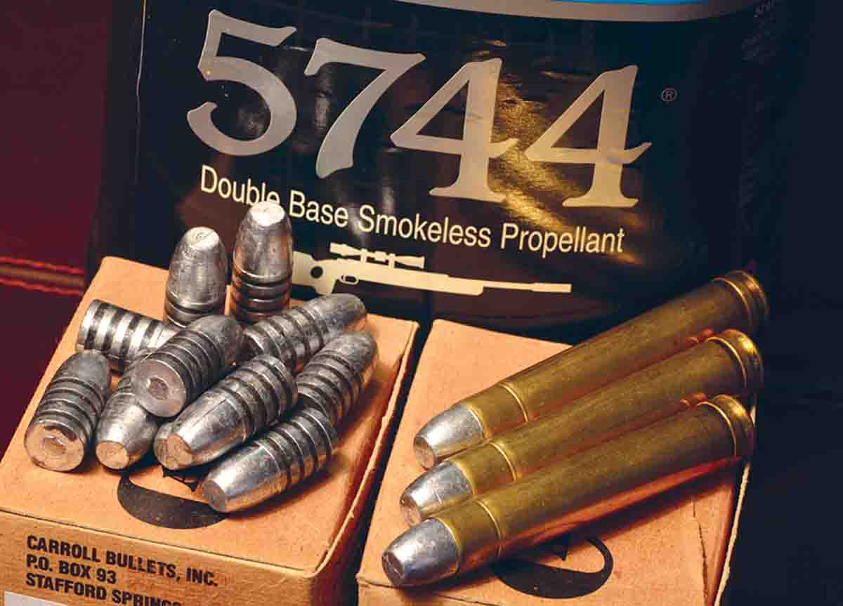 The .450 Ackley can be loaded down to .45-70 levels using lead bullets like the Carroll Bullets 405-grain bullet and  Accurate 5744 powder.