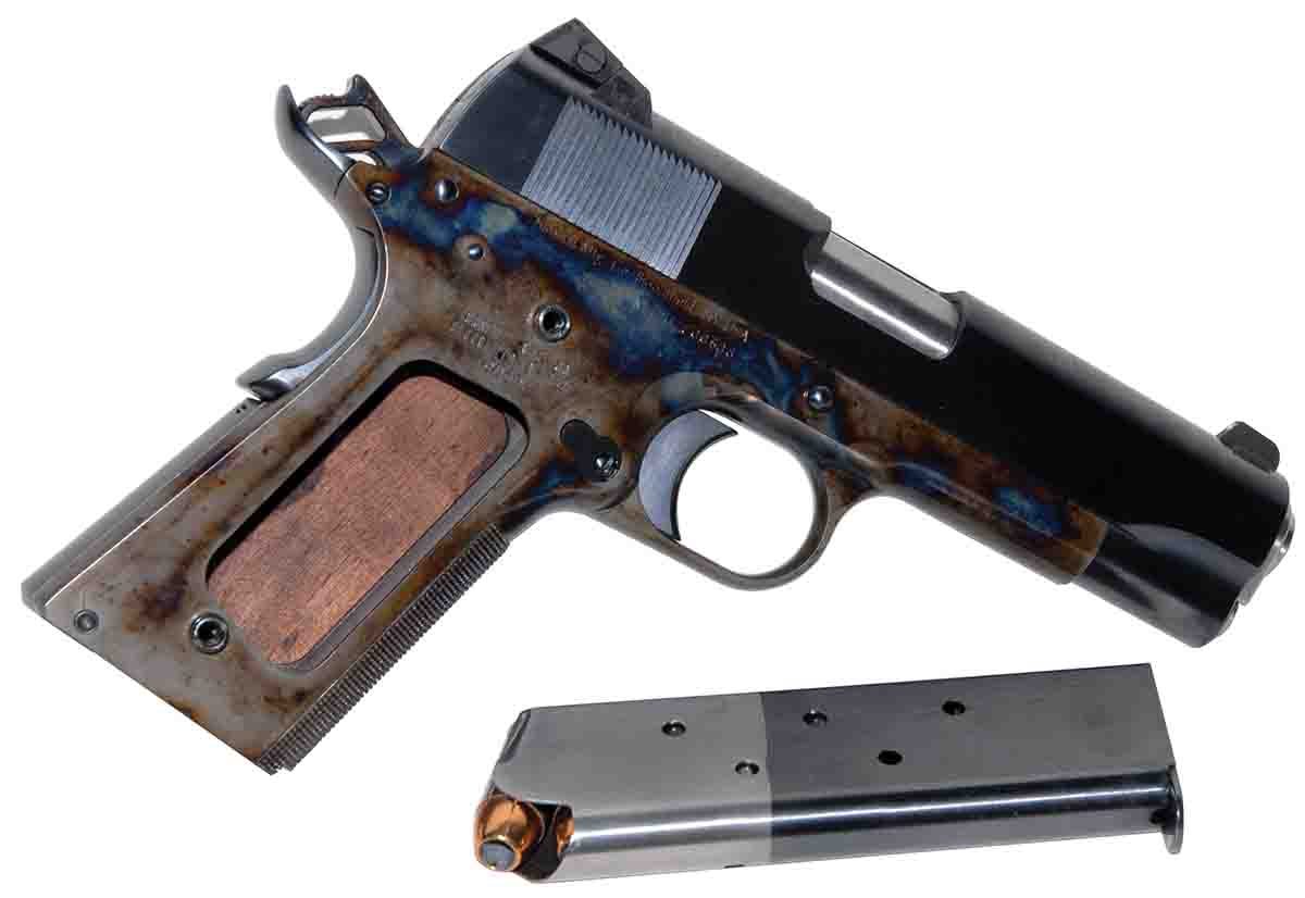 Turnbull has recreated the two-tone magazine – once a signature of older Colts – without using cyanide. The stock has been removed just to show the range of case colors.