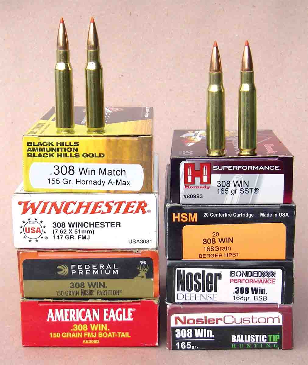 A variety of .308 Winchester factory loads were checked for velocity.