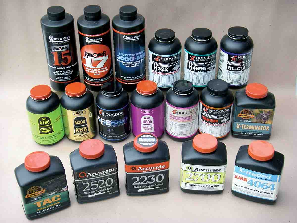 A broad selection of powders with the correct burn rate can be used to optimize .308 Winchester velocity and accuracy.