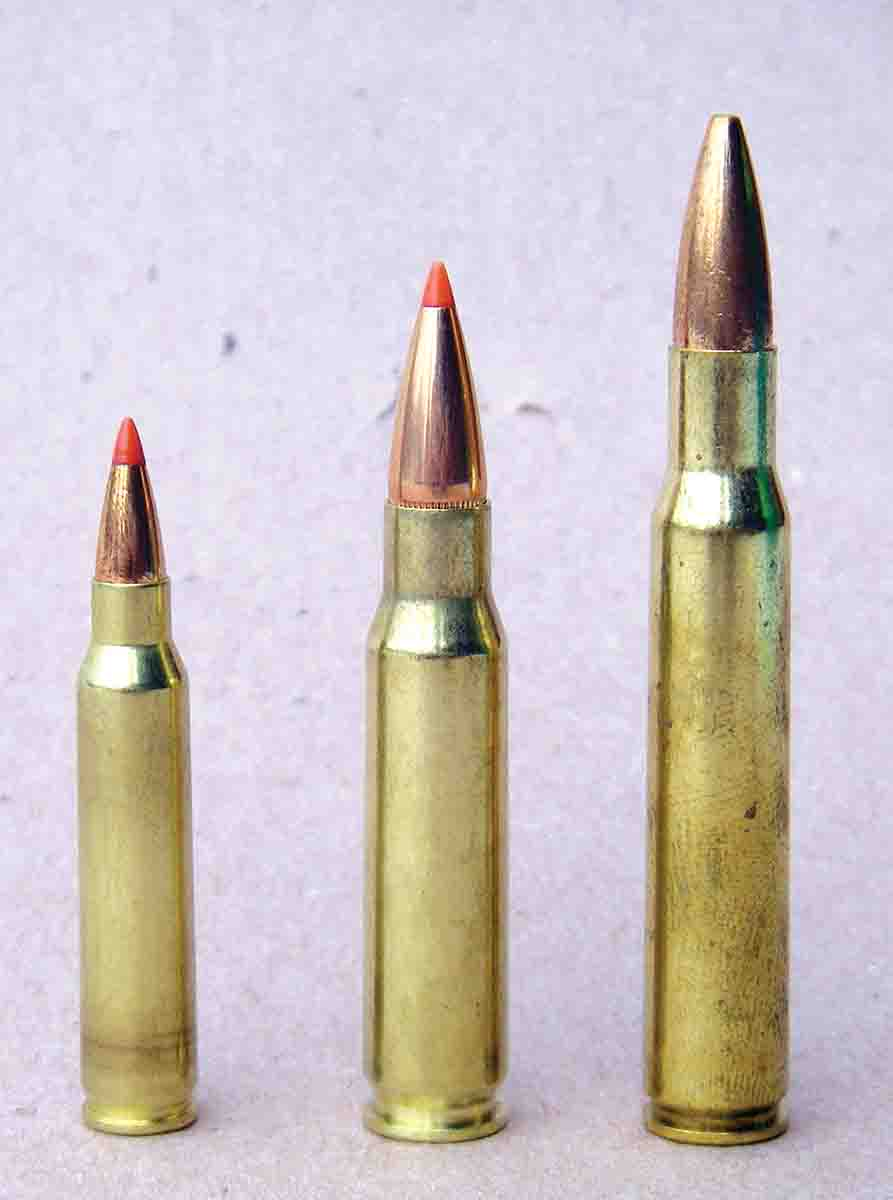 The .308 Winchester (center), .223 Remington (left) and the .30-06 (right) all started out as military cartridges and gained wide acceptance for civilian use.