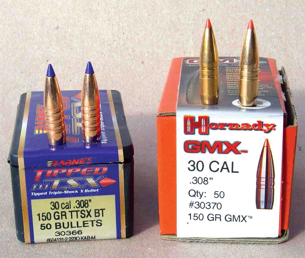 The Barnes Tipped Triple Shock X-Bullet and Hornady GMX solid copper expanding hunting bullets are popular in the .308 Winchester.