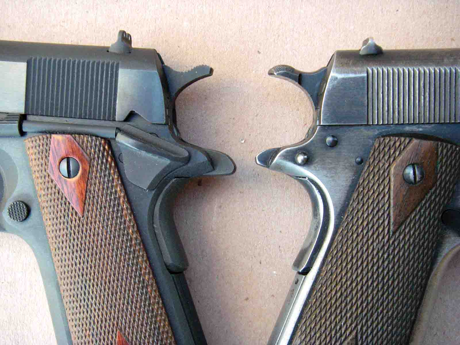 The current pistol's grip safety (left) is not a high-position pattern, but it helps prevent pinching of the web of the hand.
