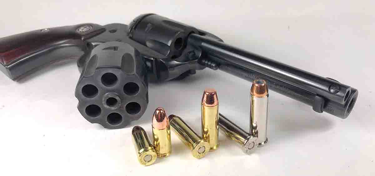 The Vaquero comes with one cylinder that accommodates .357 Magnum and .38 Special cartridges, and a second cylinder for 9mm Luger cartridges. These three cartridges provide a nearly endless combination of loads for the revolver.