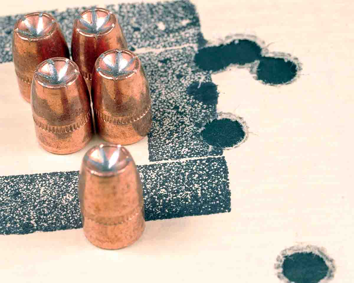 This 25-yard group consisted of Speer 125-grain Gold Dot bullets and 9.5 grains of Unique loaded in .357 Magnum cases.