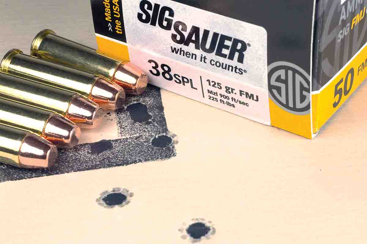 SIG Sauer Elite Performance .38 Special cartridges loaded with 125-grain FMJ bullets also shot well.