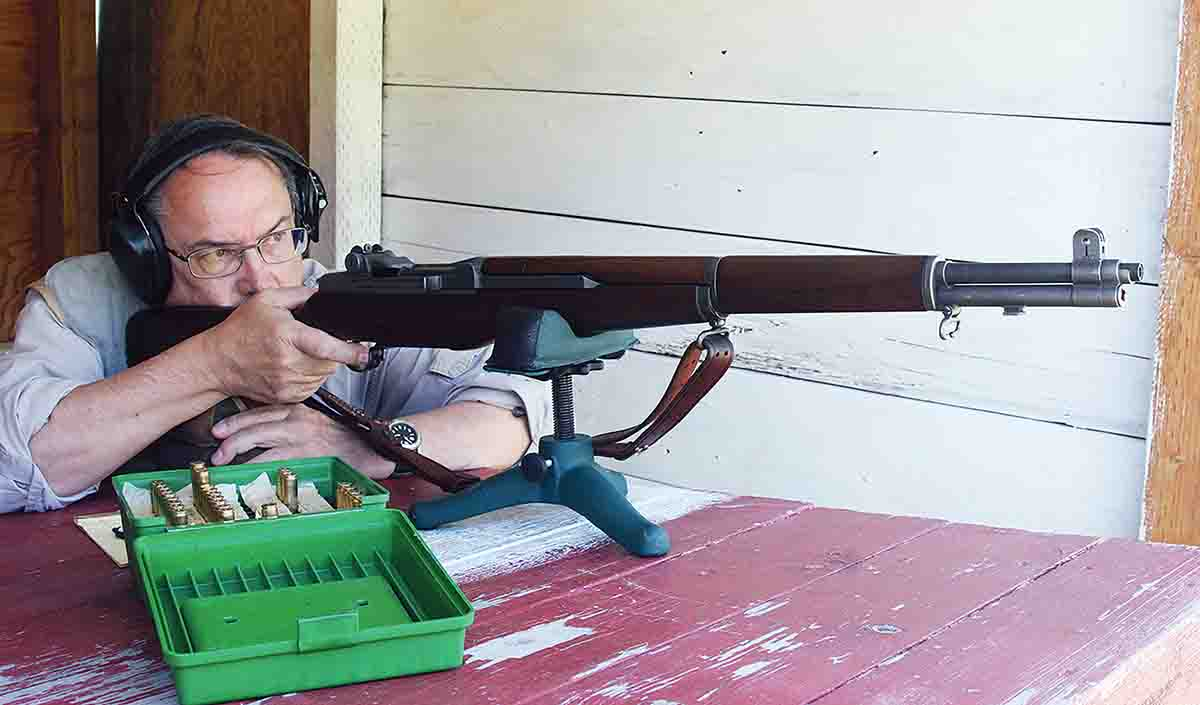 The Garand was surprisingly easy to shoot on the bench because of its 10-pound weight, gas operation and the modest ballistics of appropriate ammunition.