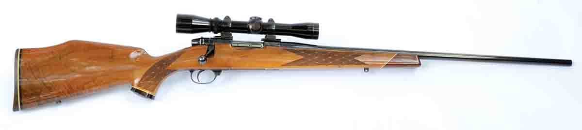 Layne's 1970s vintage Weatherby Varmintmaster weighs 7.25 pounds with a light 2-7x scope. Originally a .22-250, interchangeable barrels in 7mm-308 Improved and .250 Savage Improved were added.