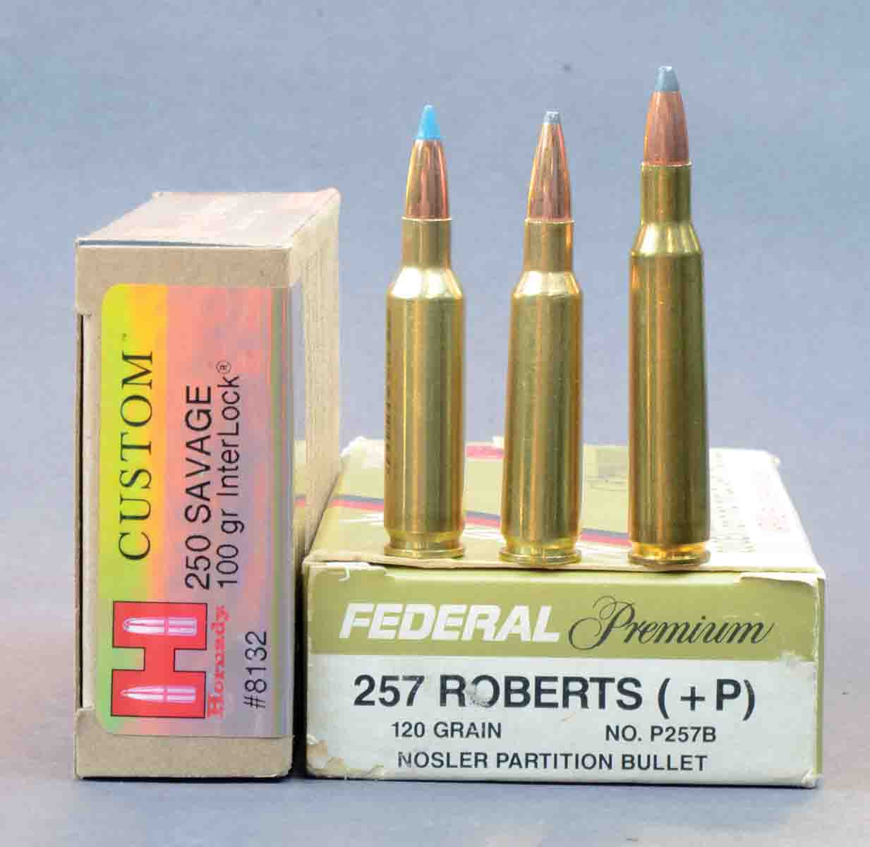 When 100-grain bullets are loaded to maximum pressure and fired in 24-inch barrels, the .250 Savage Improved is about 100 fps faster than the standard .250 Savage, and about 300 fps faster than Hornady's factory load. It should not be expected to equal the velocity of the larger .257 Roberts when it is handloaded to maximum pressure. Cartridges include (left to right): a .250 Savage Improved, .250 Savage and a .257 Roberts.