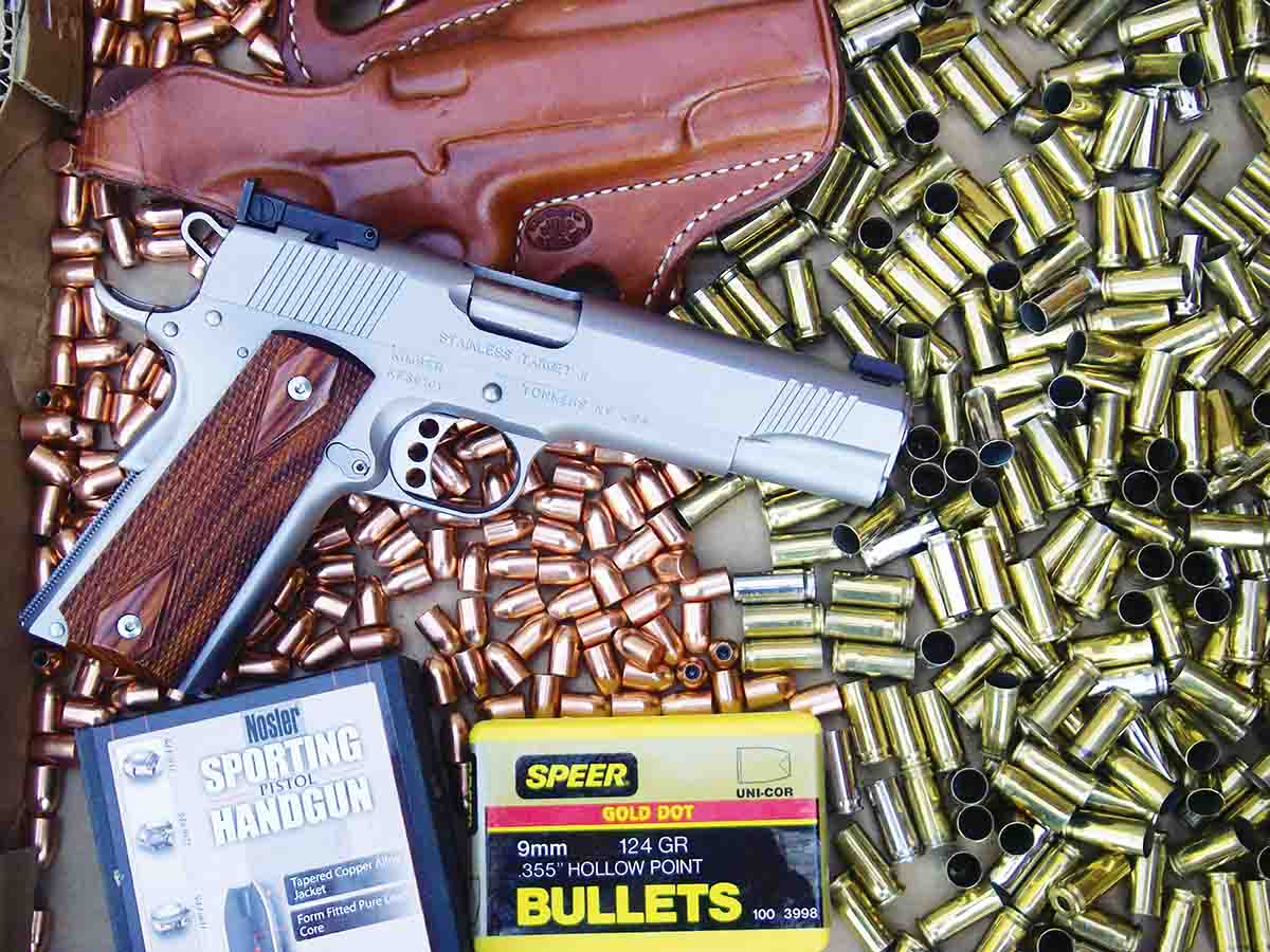 A Kimber 1911 Stainless Target II .38 Super was used to develop the accompanying loads.