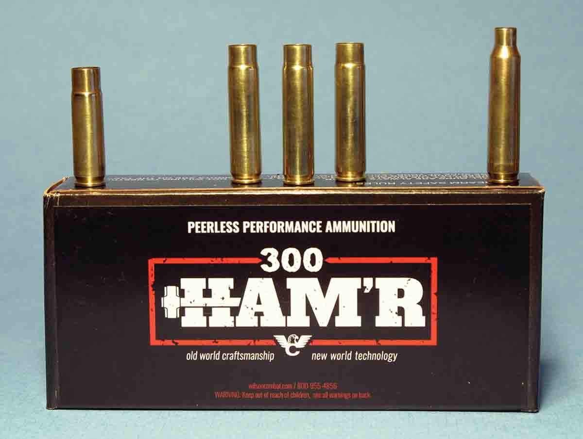 The .300 HAM'R (center) has a case length between the .300 Blackout (far left) and .223 Remington (far right).