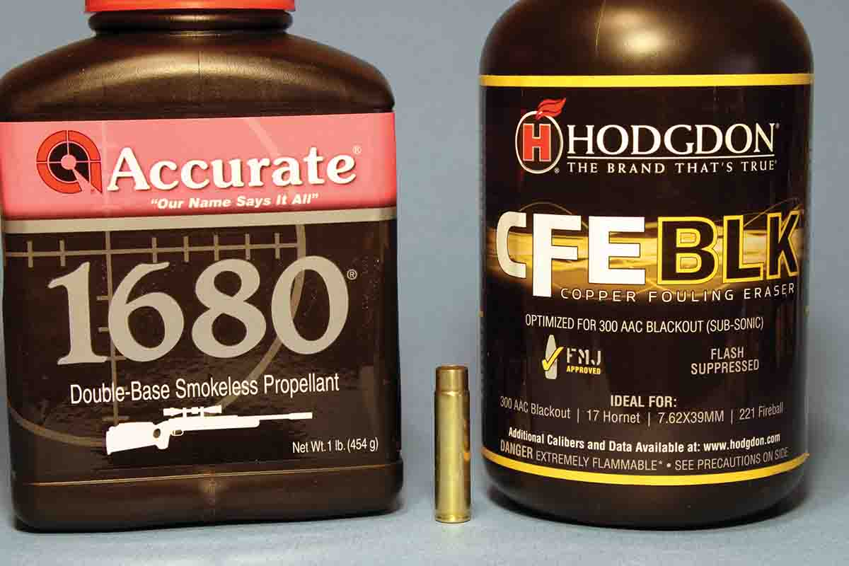 The powders that worked well for the .300 HAM'R included Accurate 1680 and Hodgdon CFE BLK.