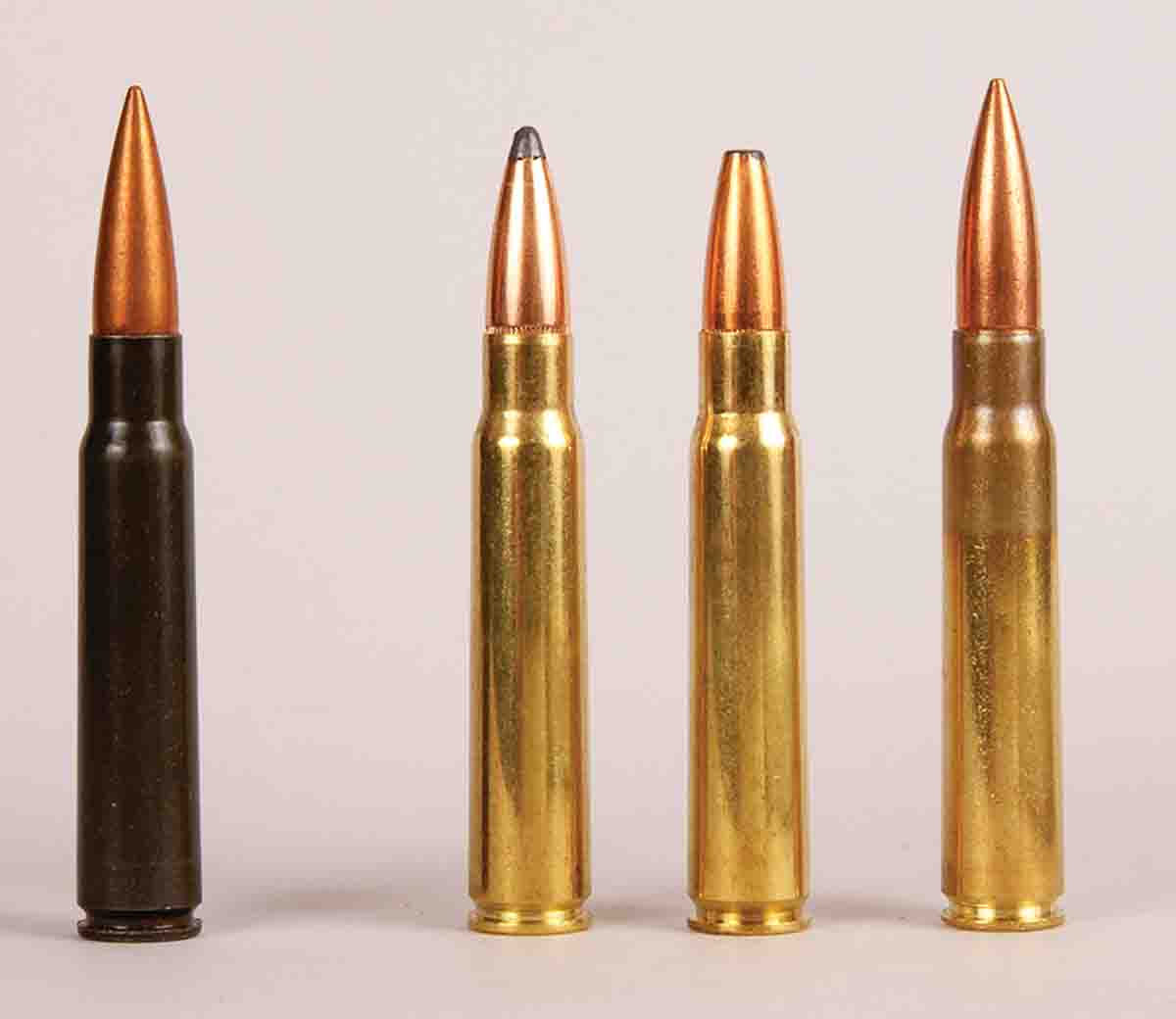 These cartridges include (left to right): an original German military round, a Hornady 195-grain Spire Point factory load, a Norma 196-grain softpoint factory load and a Mitchell's Mausers 198-grain FMJ factory load.