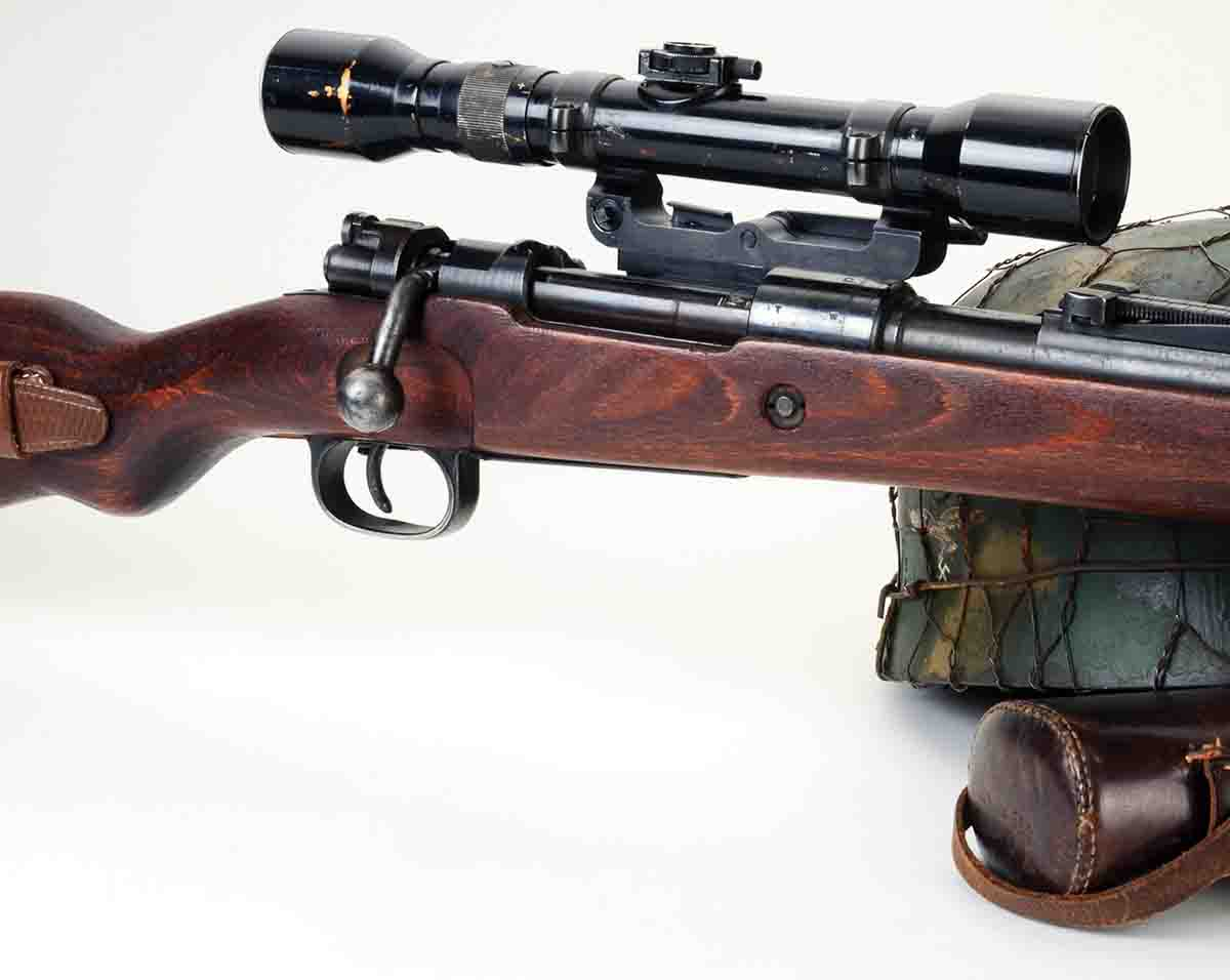 This 4x scope is mounted in long side rail mounts.
