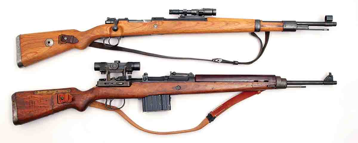 The top rifle is a K98k with a ZF41 1.5x scope. Below it is a K43 with a Z4 4x scope.