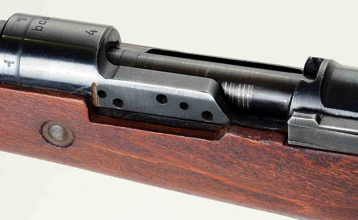 "The only German-manufactured sniper rifles were marked ""BCD4"" and had an extra-thick left receiver rail."