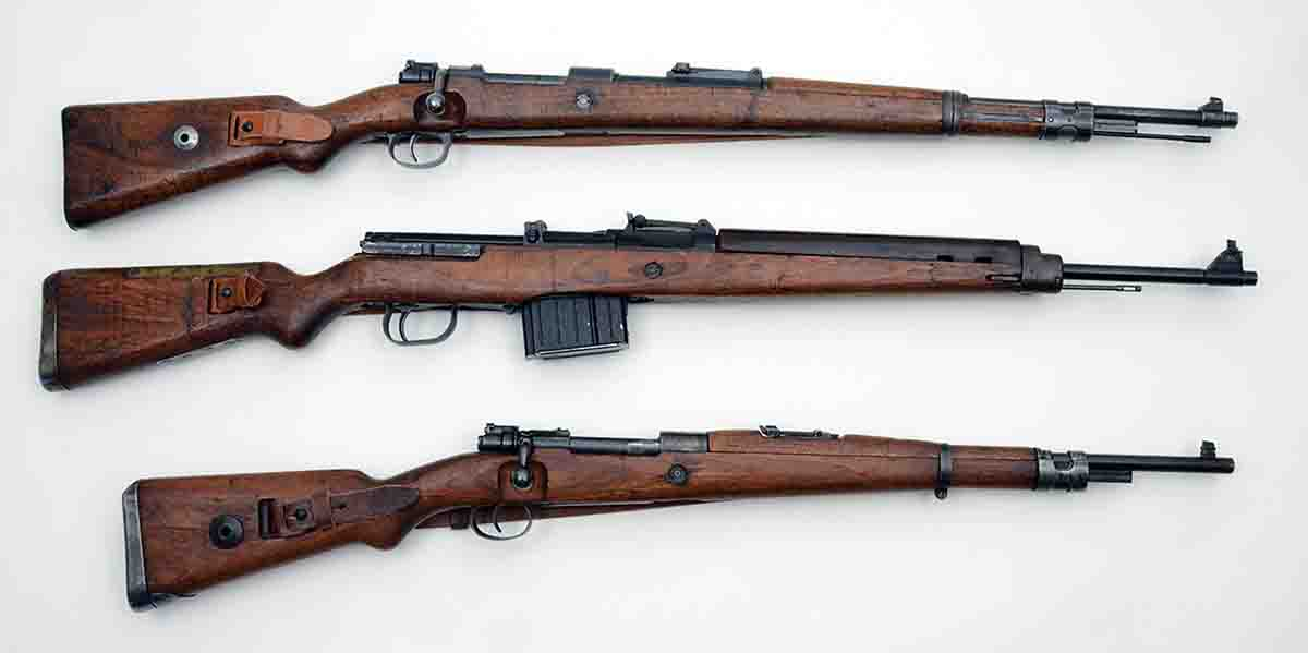 Three of the different 8x57mm rifles Germany issued to its front-line forces include (top to bottom): the K98k, K43 (also marked G43) and the G33-40.