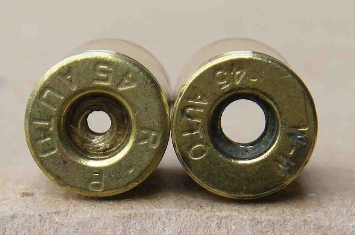 Most .45 ACP brass manufacturers produce cases with flash holes that measure (left) .075 to .085 inch. Avoid using cases with excessively large flash holes.
