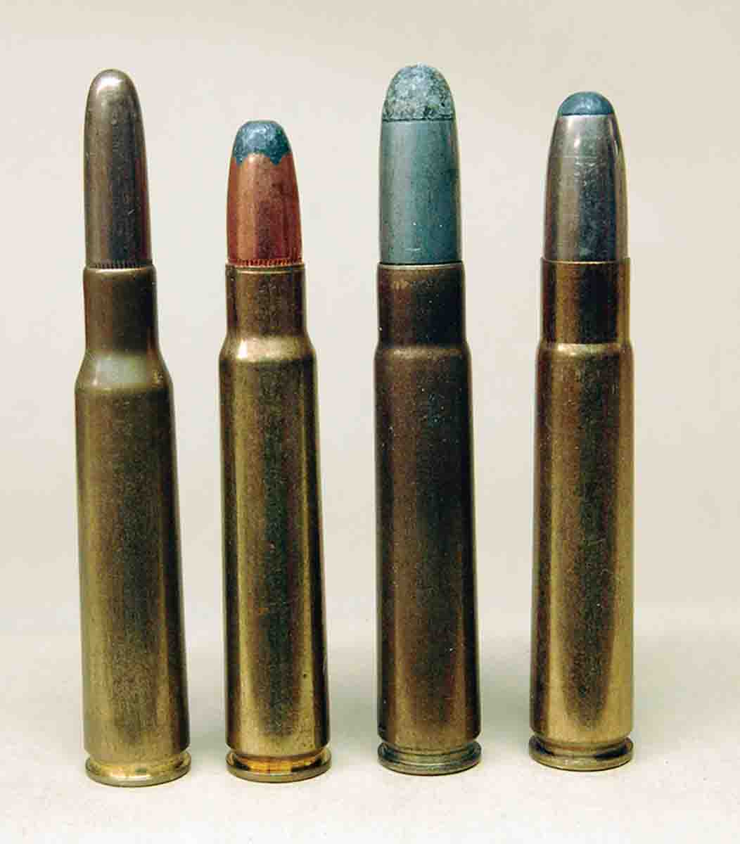 Common cartridges in the M88 series include (left to right): the 7x57, 8x57, 9x57 and the 9.3x57.