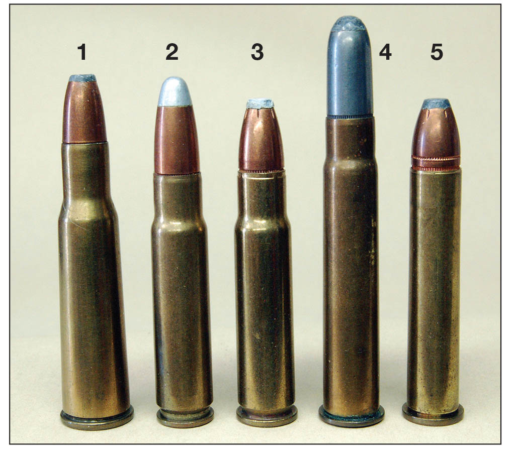 American cartridges with performance similar to the 9x57 include the (1) .348 Winchester, (2) .356 Winchester, (3) .358 Winchester and the (4,5) .35 and .375 Winchesters.