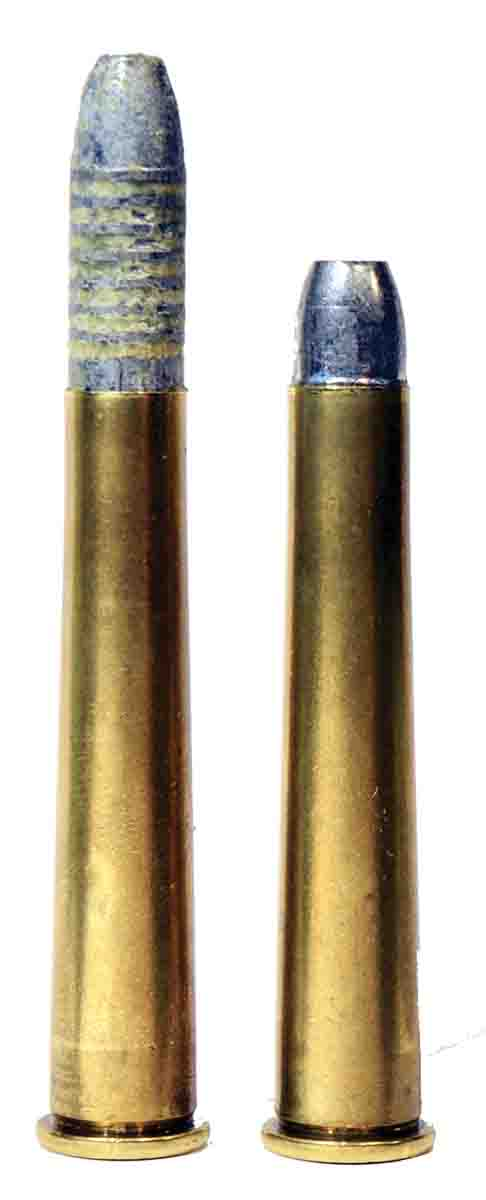 One old method of aligning bullet and bore was to partially seat the bullet (left) in a snug neck, then allow it to be pushed into the case by the lands when the breech was closed. This was not as convenient as a conventionally loaded round (right) but resulted in superior match accuracy. The cartridge is a .32-40.