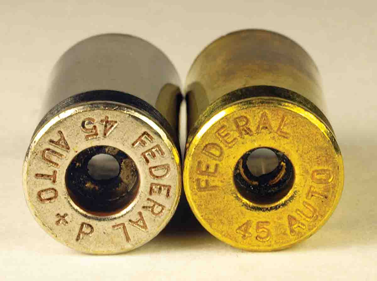 Some .45 Auto cases are made to hold (left) large pistol primers. Do not mix them with .45 Auto cases that take (right) small pistol primers.