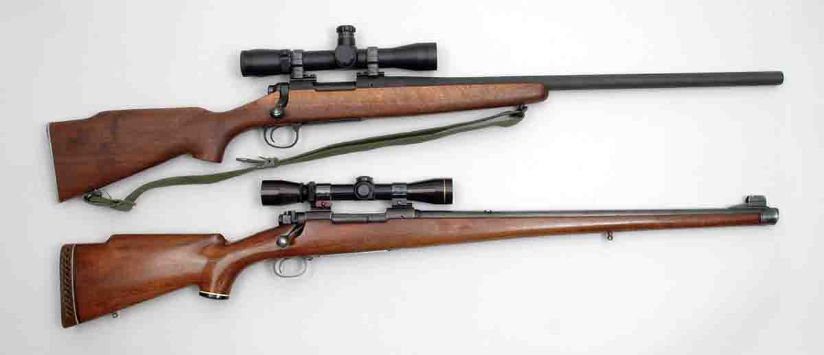 Two 7.62mm NATO/.308 Winchester rifles shot frequently with cast bullets including (top) a Remington reproduction of a USMC M40 Vietnam-era sniper rifle and a (bottom) Winchester Model 70 from 1952.