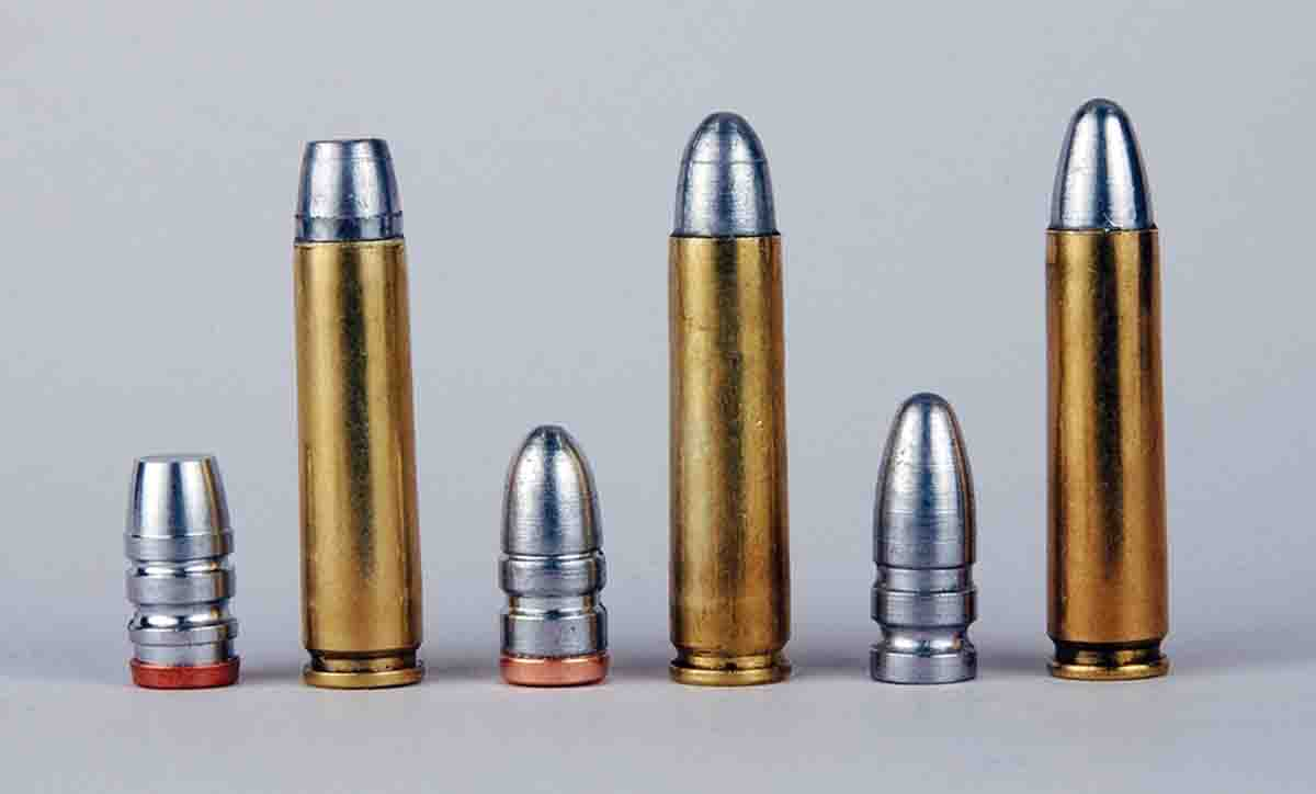 Some of the lightweight .30-caliber cast bullets Mike has tried in .30 Carbine include (left to right): a Lyman 311316 (discontinued), Redding/SAECO No. 302 and a Lyman 311410.