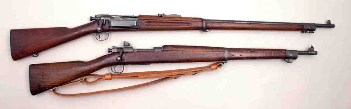 Two of Mike's favorite cast-bullet rifles are a (top) U.S. Model 1896 .30 Army (.30-40 Krag) and a U.S. Model 1903A3 (Remington).
