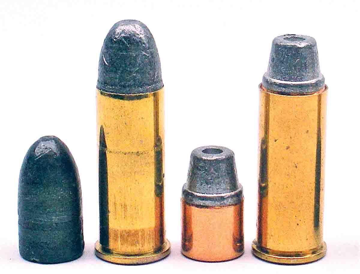 When cast or jacketed bullets, such as the original lead roundnose and Speer half-jacket semiwadcutter shown here in .44 S&W Special cases, lack a crimping groove, use the overall loaded length recommended in loading manuals and/or factory specifications.