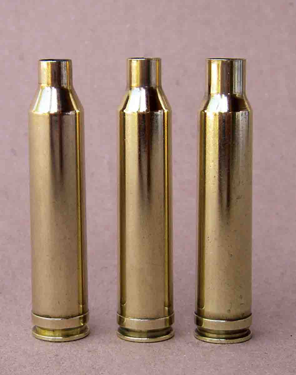 The 7mm Remington Magnum case (center) was based on a (left) necked-up .264 Winchester Magnum or a (right) necked-down .338 Winchester Magnum.