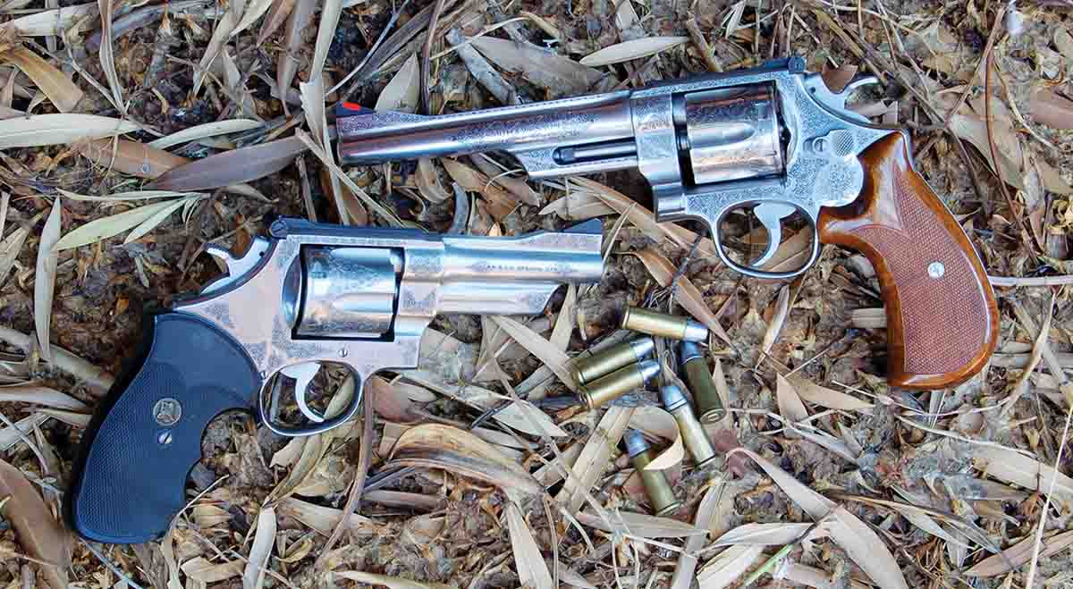 A pair of prettied-up S&W M624s with 4-inch and 6-inch barrels. Neither has been damaged by abusive handloads.