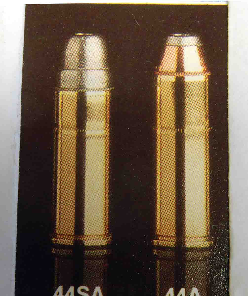A page from a 1983 Federal catalog shows .44 Special and .44 Magnum cartridges, but now the .44 Special bullet (left) is seated out where it belongs, decreasing jump to rifling and increasing accuracy.