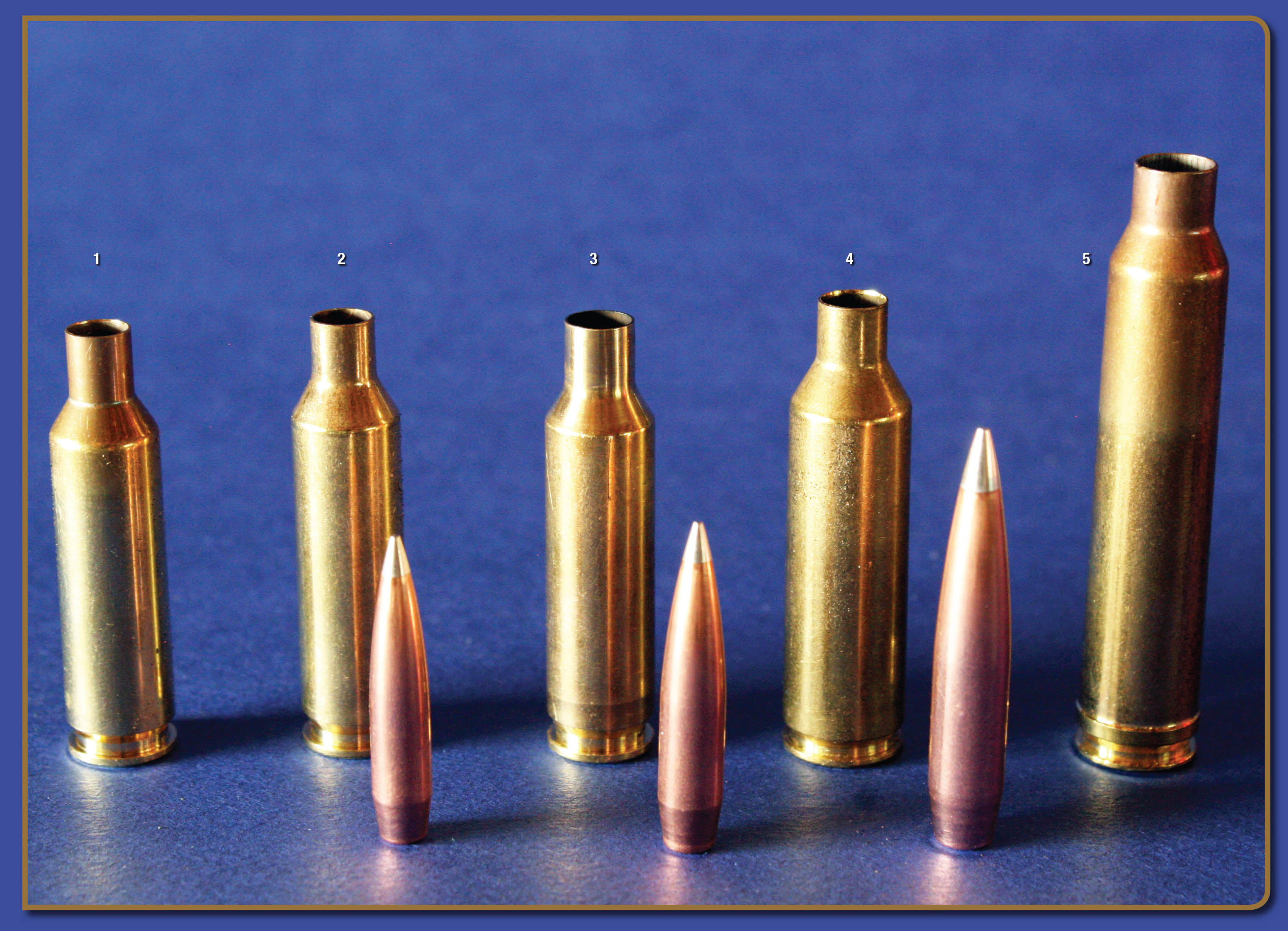 From left, A-TIP bullets include the 110-grain 6mm, 135-grain 6.5mm and 230-grain .30 caliber. Cartridges include the (1) 6XC, (2) 6mm Creedmoor, (3) 6.5 Creedmoor, (4) 6.5 PRC and the (5) .300 Winchester Magnum.
