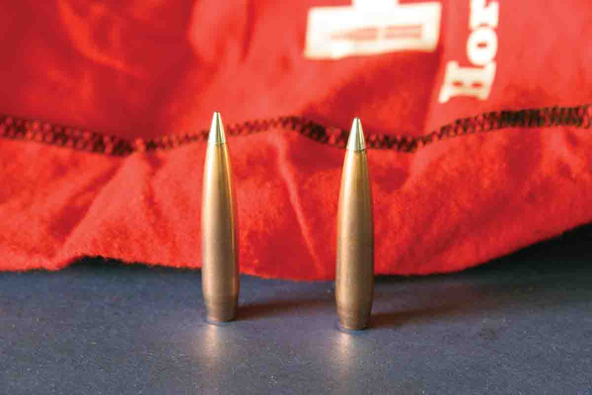 At left is a hand-polished 230-grain .30-caliber A-TIP, along with an unpolished bullet right out of the box.