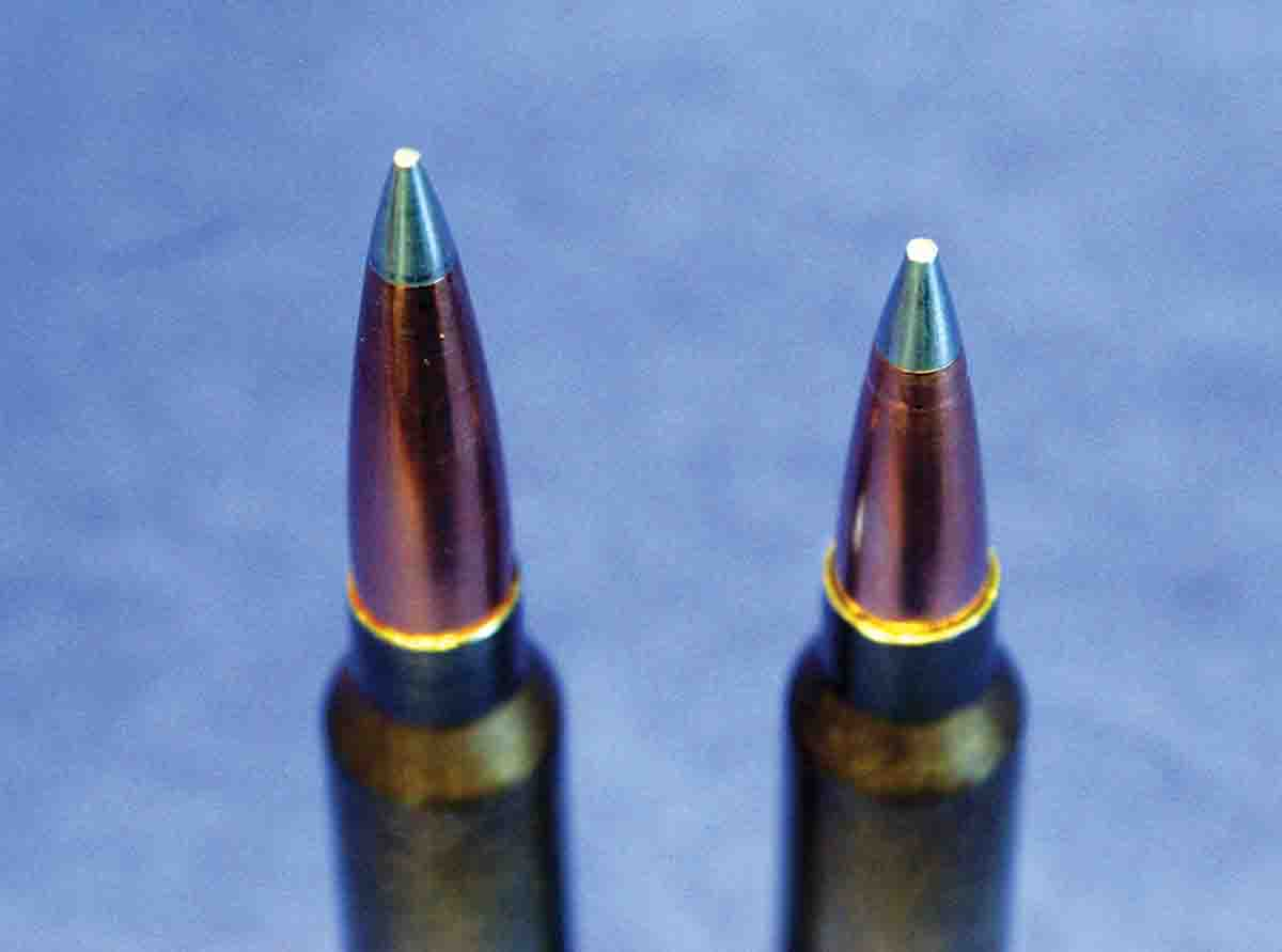 At left is a 230-grain A-TIP seated to 3.720 inches overall length in the .300 Winchester Magnum using a seating stem designed for high BC bullets. At right is the same bullet seated with a conventional seating stem on top of a very compressed load of Hodgdon Retumbo, which slightly deformed the aluminum tip.