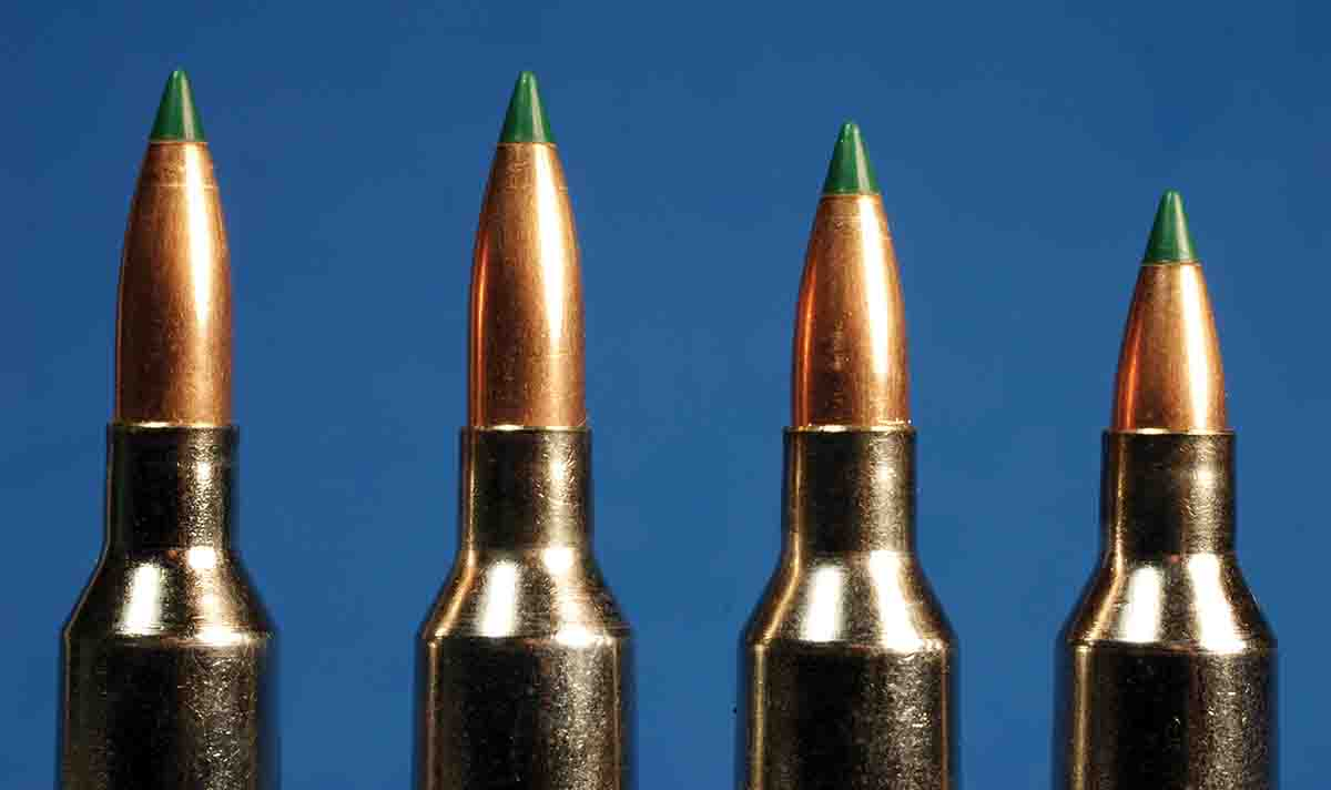 Experimenting with different bullet seating depths can lead to best accuracy. These .22-250 Remington cartridges have bullets seated to different depths.
