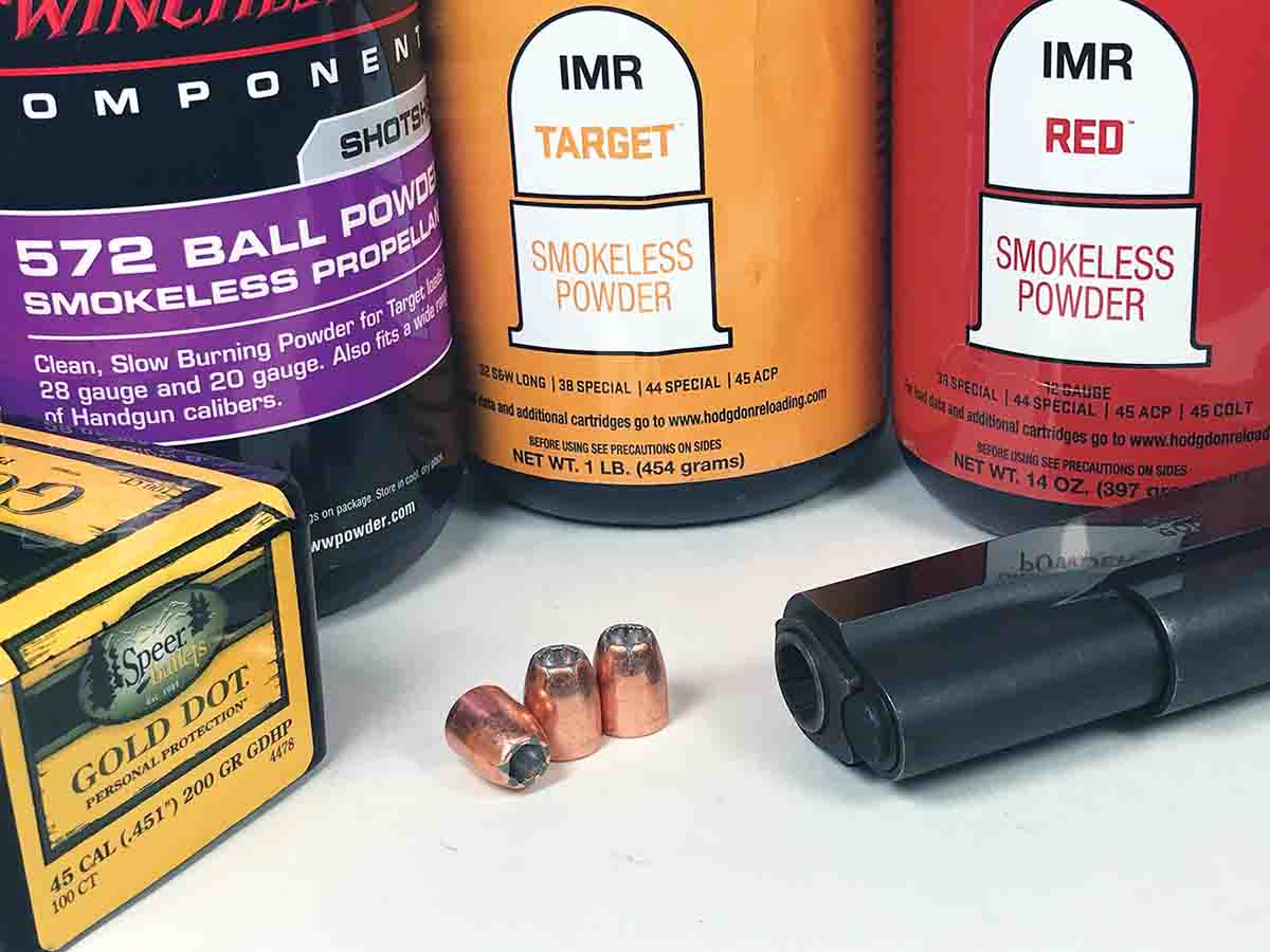 Testing various charge weights of W-572, IMR Red and Target with Speer 200-grain Gold Dot bullets fired from a Colt Gold Cup .45 Auto resulted in two accurate loads at 25 yards.