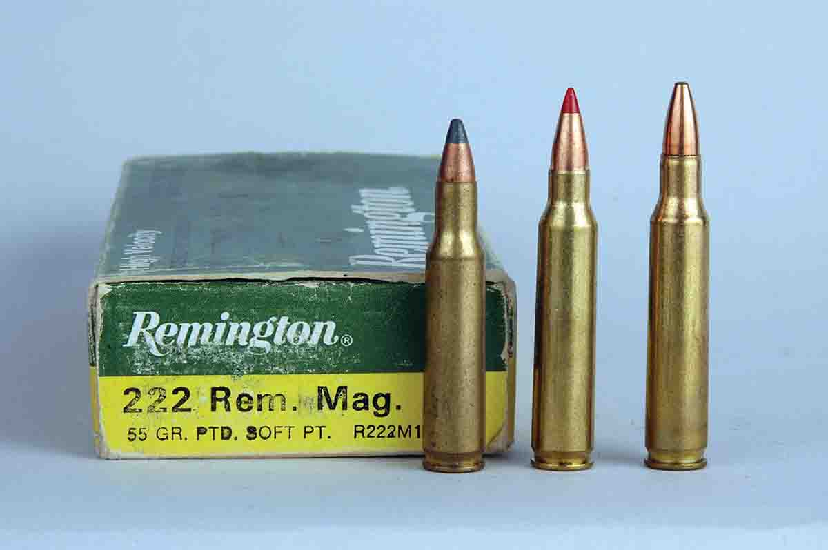 From left: The .222 Remington was introduced in 1950, the .223 Remington in 1964 and the .222 Remington Magnum in 1958.