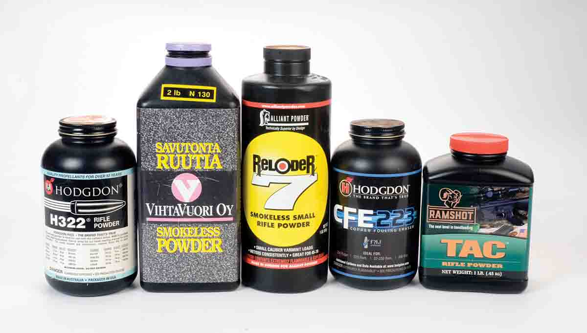 These five powders were used to test six bullets in two .222 Remington Magnum rifles.