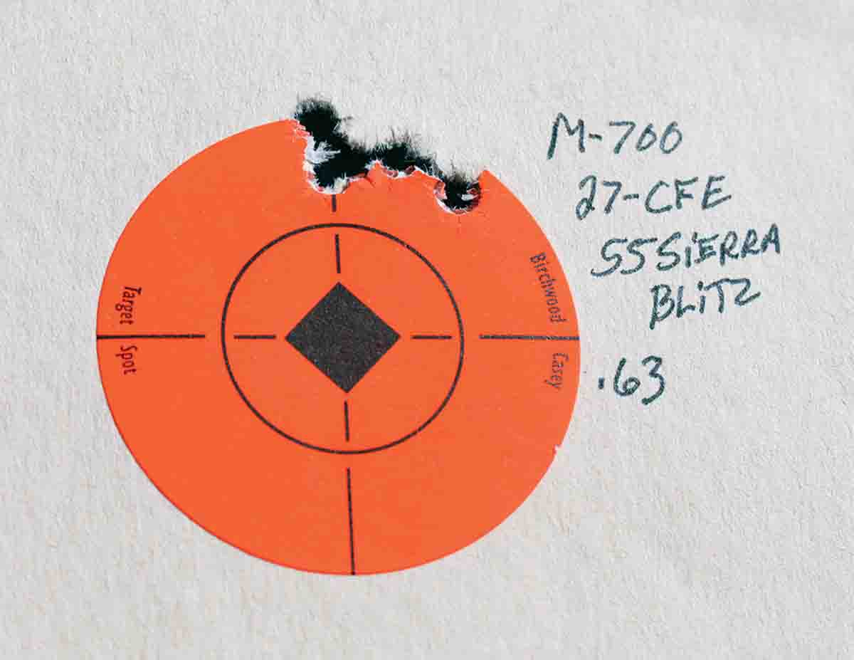 The best group fired from the Remington Model 700 ADL measured .63 inch.