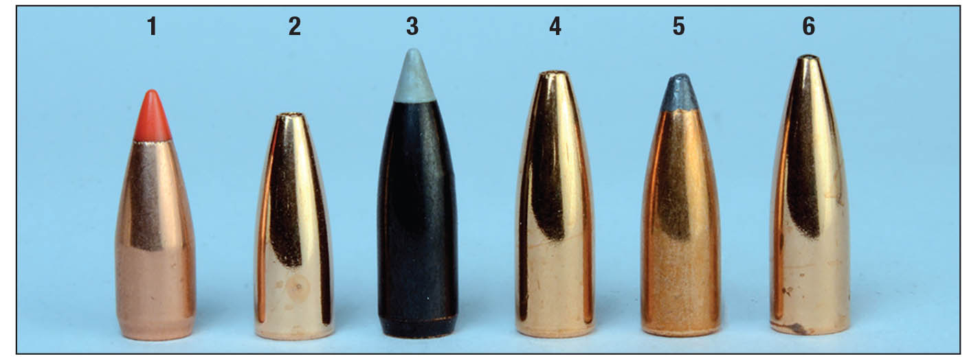 Six bullets used include the (1) Hornady 40-grain V-MAX, (2) Berger 40 FB Varmint, (3) Nosler 50 Ballistic Silvertip, (4) Berger 50 FB Varmint, (5) Sierra 55 Blitz and  (6) Berger 55-grain FB Target.