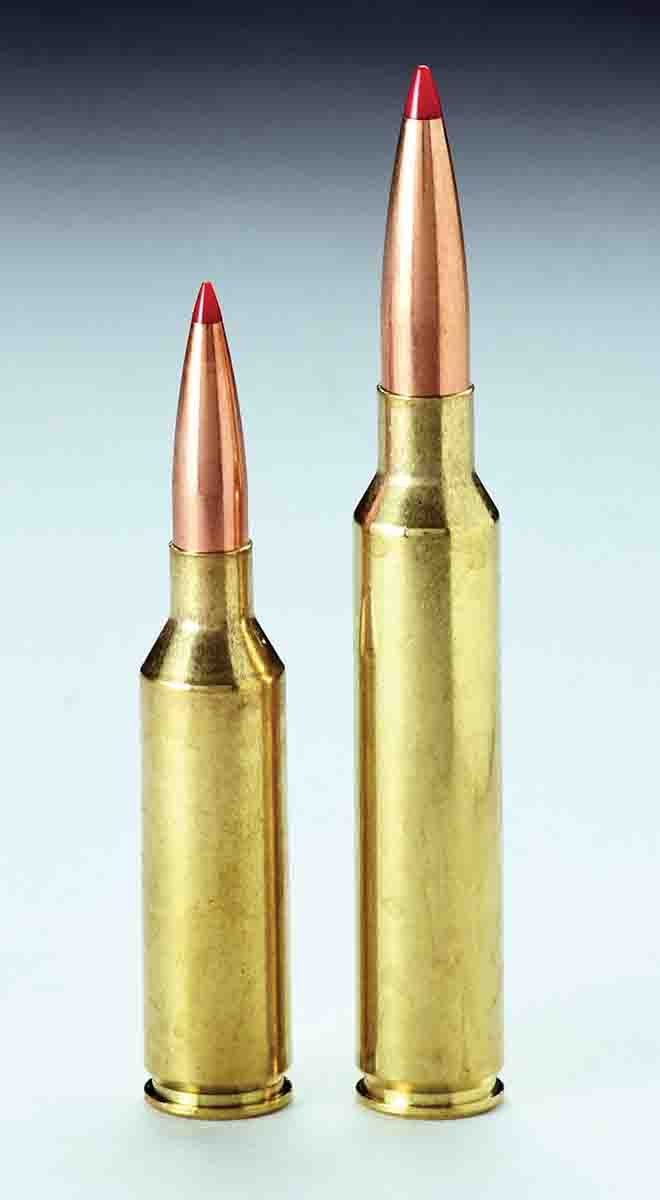 The 6.5 PRC (left) and .300 PRC are designed for long heavy bullets seated well out of case mouth.